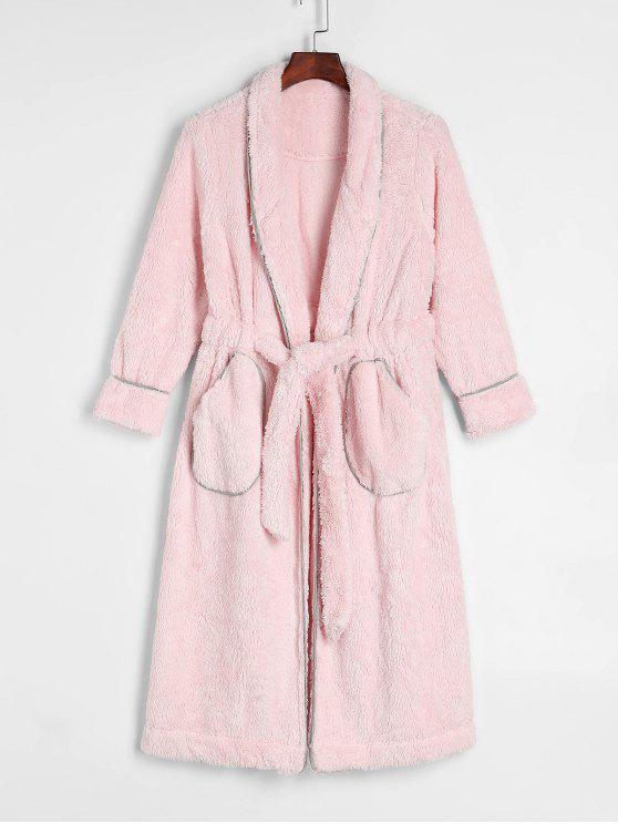 women's Drawstring Pockets Fluffy Fleece Winter Robe - PINK 2XL