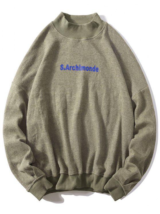 outfits Loose Letter Pullover Casual Sweatshirt - LIGHT KHAKI XL