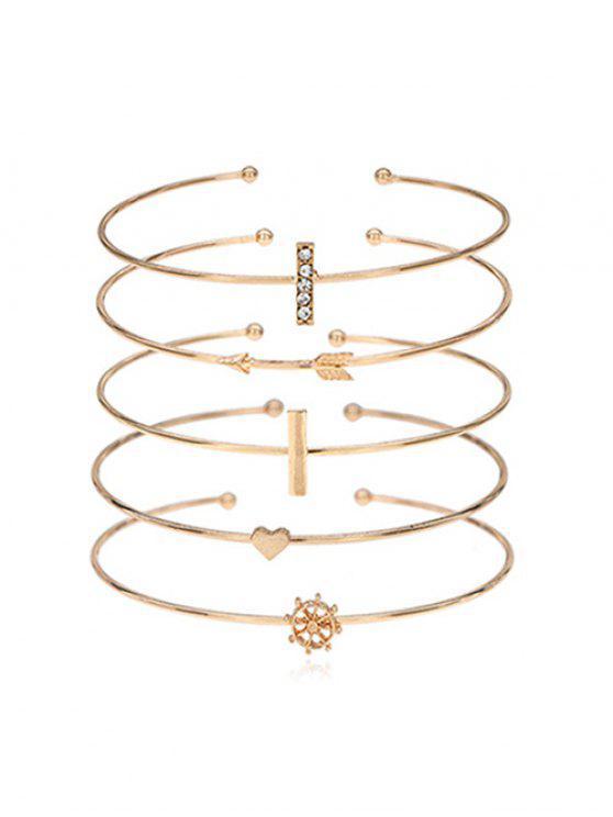 Strass Intarsien Herz Arrow Alloy Manschette Armband Set - Gold