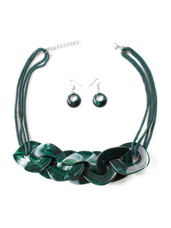 shop Geometry Joint Decoration Pendant Necklace with Hook Earrings - MEDIUM SEA GREEN