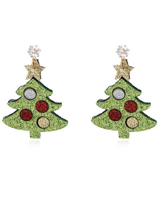 new Christmas Tree Rhinestone Party Earrings - SALAD GREEN