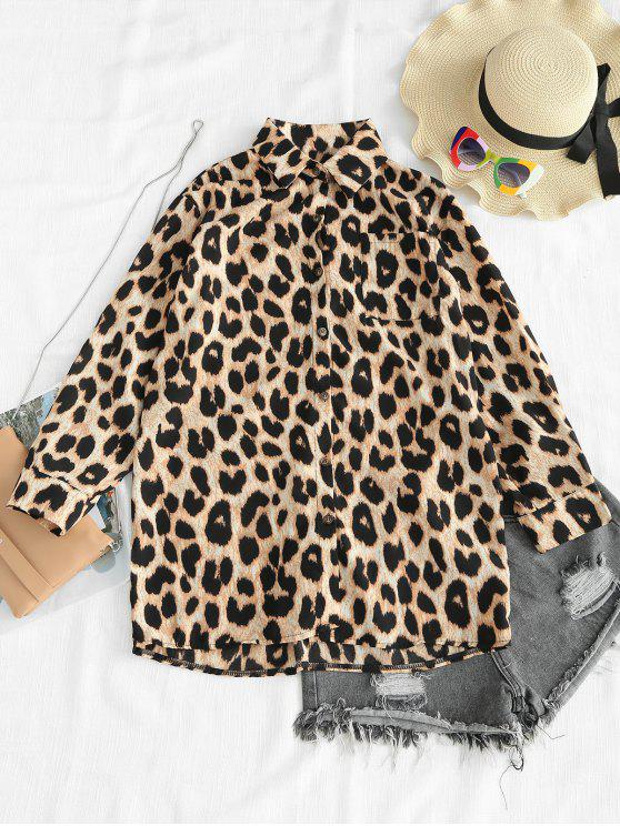 womens Oversized Leopard Tunic Pocket Blouse - LEOPARD ONE SIZE