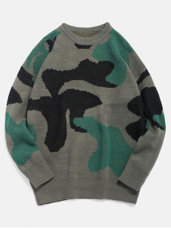hot Letter Pattern Camo Knitted Sweater - DEEP GREEN L