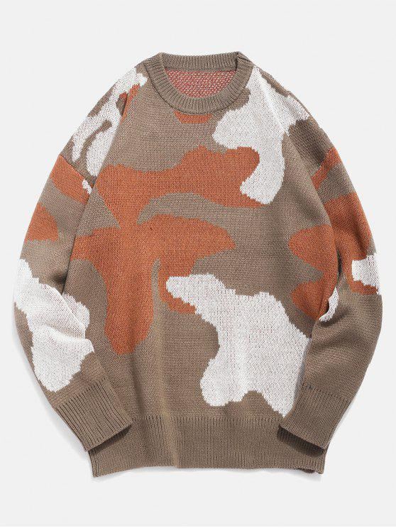 shops Letter Pattern Camo Knitted Sweater - KHAKI XL