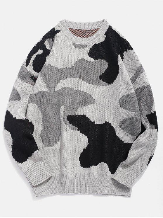 Pull Camouflage Tricoté Motif de Lettre - Noir 3XL