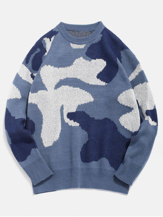 women Letter Pattern Camo Knitted Sweater - SILK BLUE XL