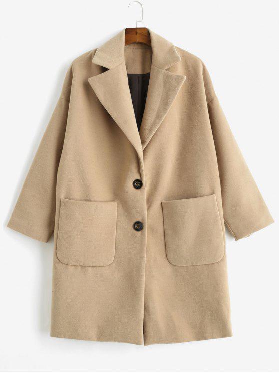 Cappotto In Lana Finta Plus Size Con Tasca - Marrone Cammello S