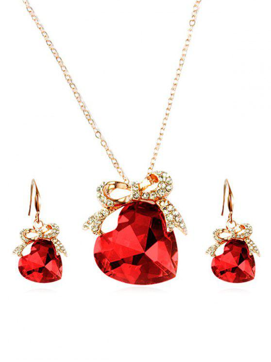 latest Artificial Crystal Heart Design Bowknot Necklace Earrings - RED