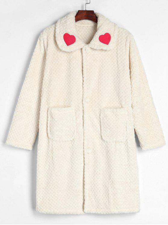 fancy Button Front Winter Faux Fur Fluffy Bathrobe - WARM WHITE XL