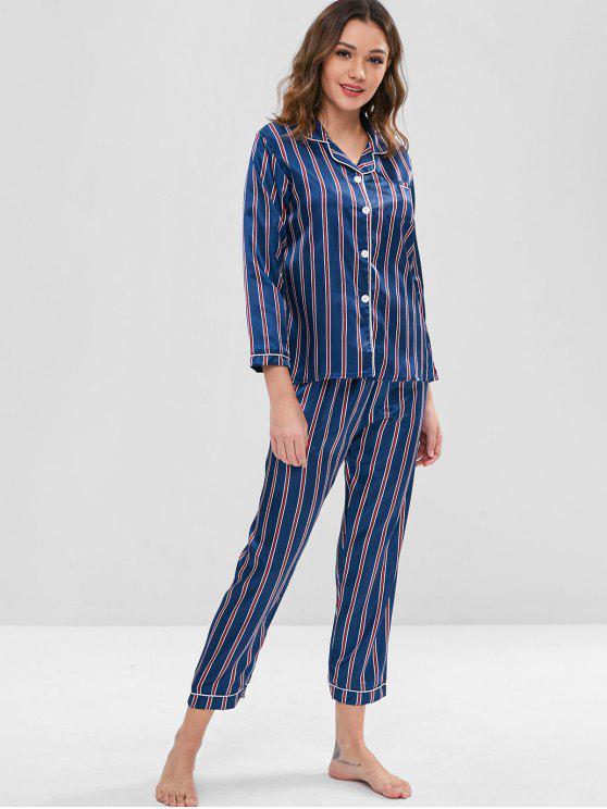 Ensemble de Pyjama Chemise Rayée en Satin et Pantalon - Bleu profond XL