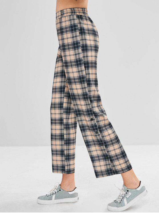 c62969a132 35% OFF] 2019 Side Buttons Plaid Wide Leg Pants In MULTI | ZAFUL