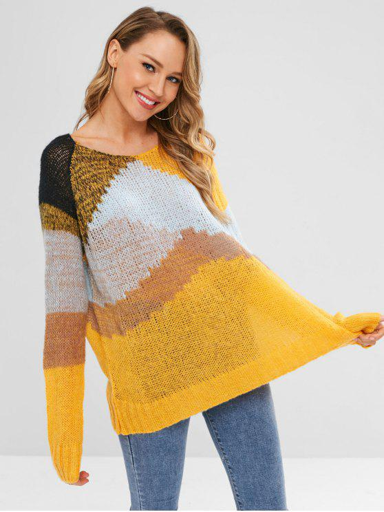 women's Color Block Raglan Sleeve Loose Sweater - YELLOW ONE SIZE