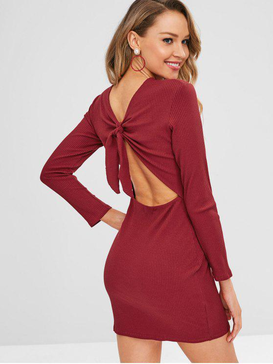 0d4e47b7ab98 44% OFF  2019 Ribbed Long Sleeve Knot Fitted Dress In RED WINE