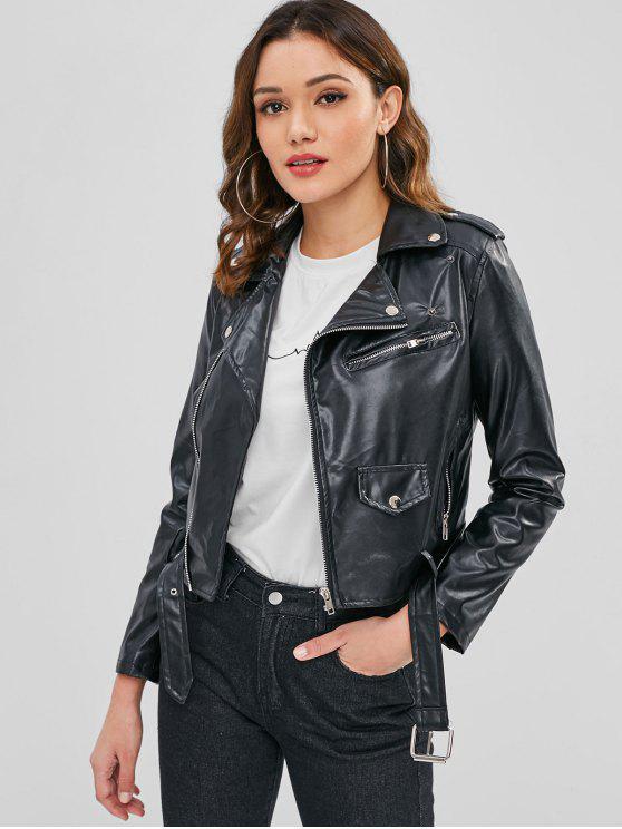 sale Faux Leather Belted Zip Biker Jacket - BLACK XL