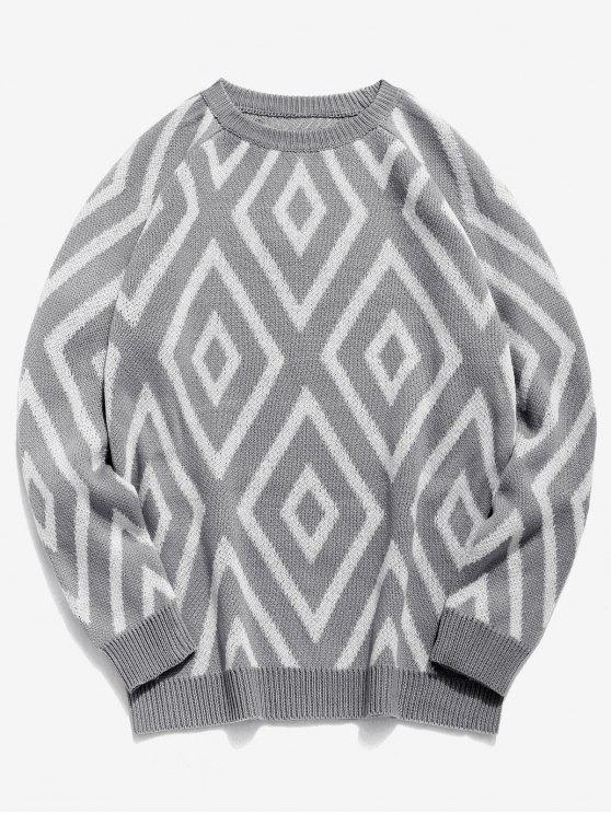 hot Geometric Crew Neck Knitted Sweater - GRAY 3XL
