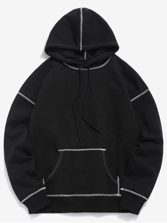 buy Contrast Flat Locked Seams Hoodie - BLACK S