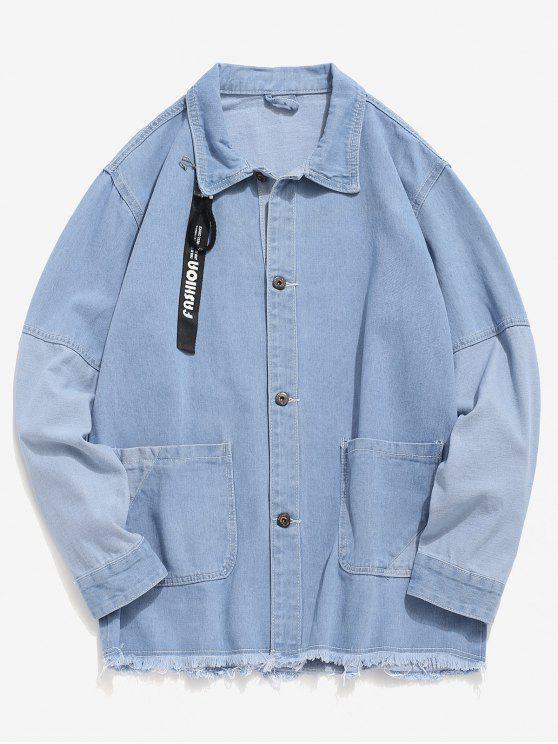 Ausgefranste Hem Patch Jeansjacke - Helles Blau XL
