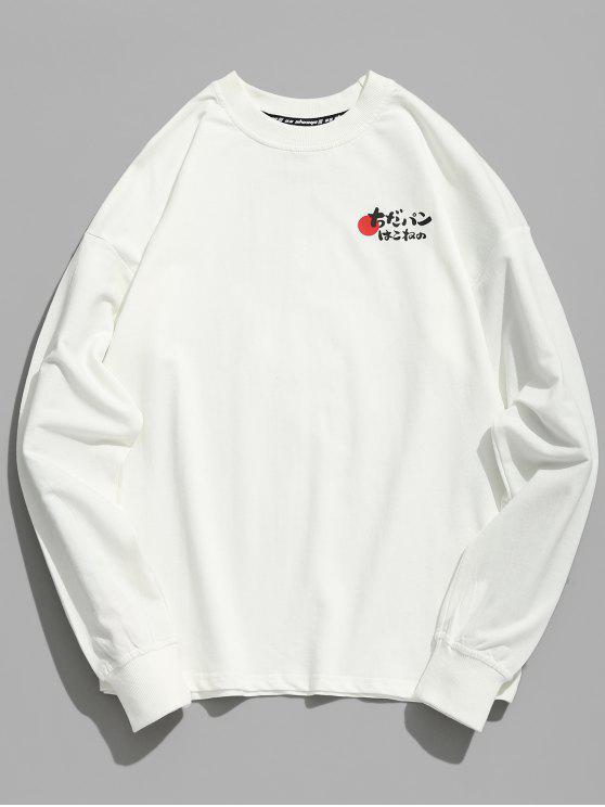T-shirt japonês do impressão do caráter do gatinho - Branco 2XL