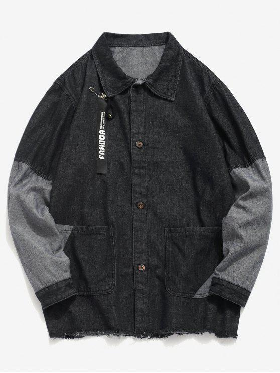 shops Frayed Hem Patch Denim Jacket - BLACK 4XL