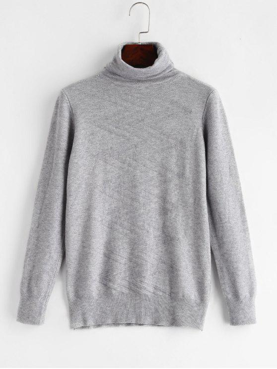 women Zig Zag Turtleneck Sweater - GRAY CLOUD ONE SIZE