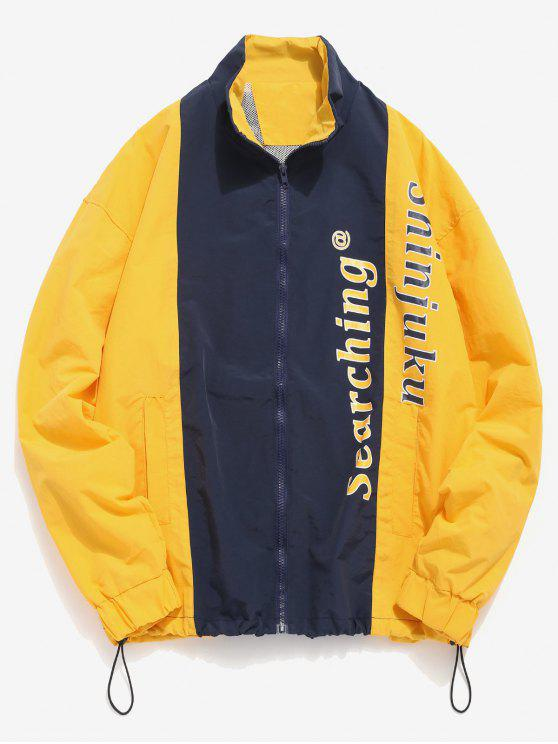 lady Contrast Letter Lightweight Jacket - BRIGHT YELLOW 3XL