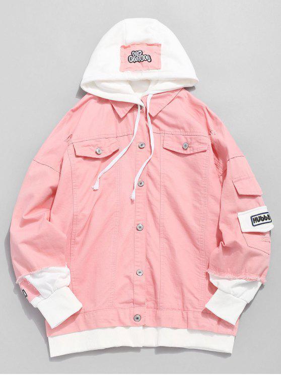 online Ripped False Two Piece Denim Jacket - PINK XL