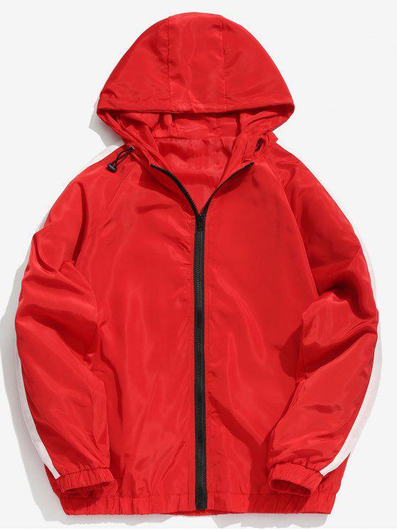 Jaqueta Zip Impermeável com Contraste Listrado - Vermelho M