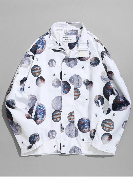 ladies Planet Print Windbreaker Jacket - WHITE L