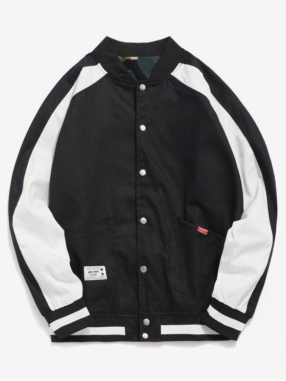 outfits Raglan Sleeve Pocket Baseball Jacket - BLACK 2XL