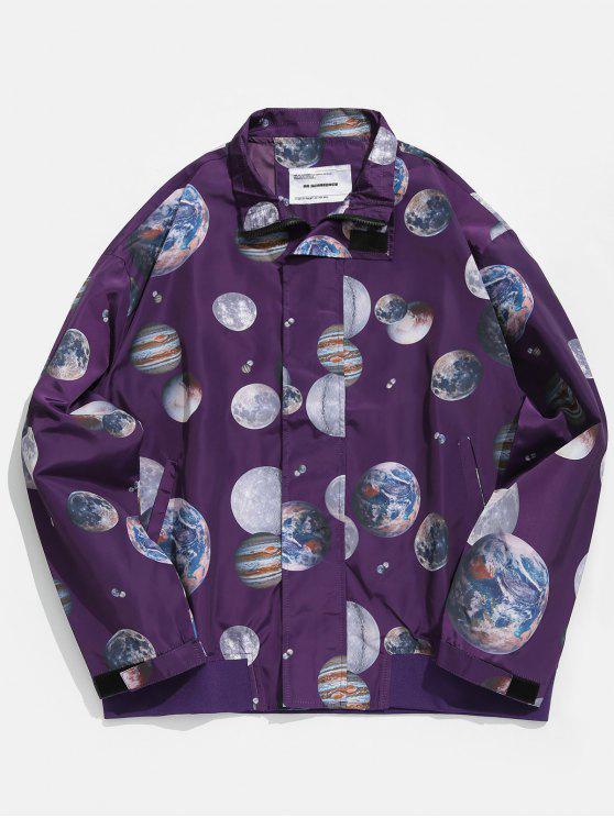 Jaqueta de blusão de impressão Planet - Íris Roxa XL