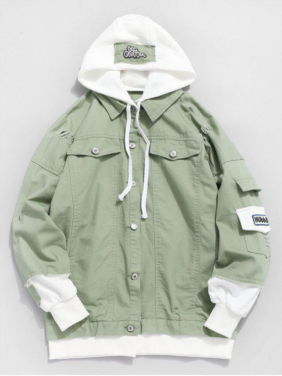 trendy Ripped False Two Piece Denim Jacket - DARK SEA GREEN XL