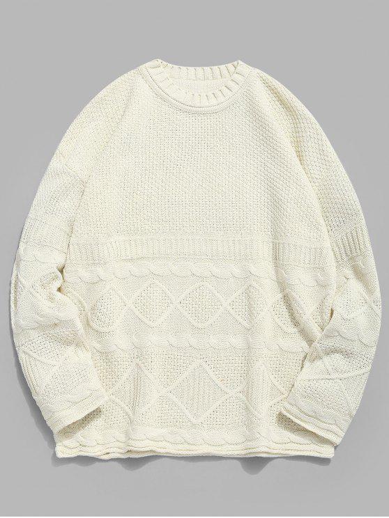 Camisola de malha torcida geométrica sólida - Branco Quente 3XL