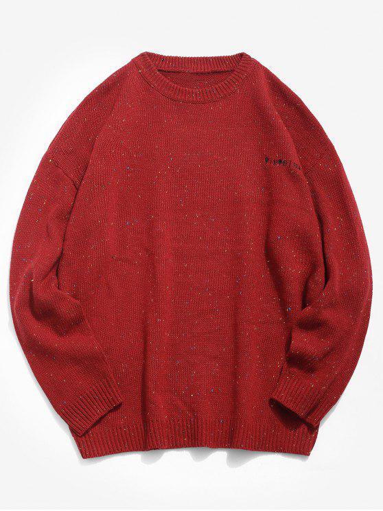 Camisola de malha bordada de caracteres japoneses - Vermelho 4XL
