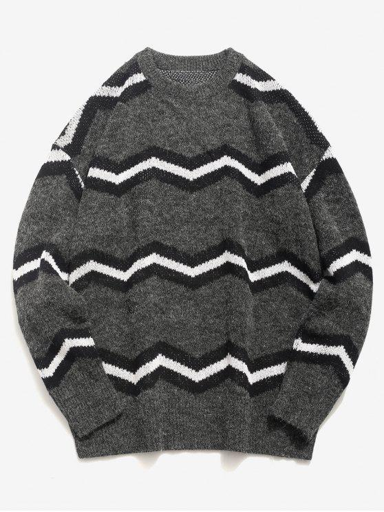 hot Contrast Wave Knitted Sweater - DARK GRAY XL