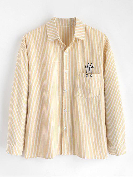 جيب مطرزة القطة مخطط القميص - ذرة صفراء L