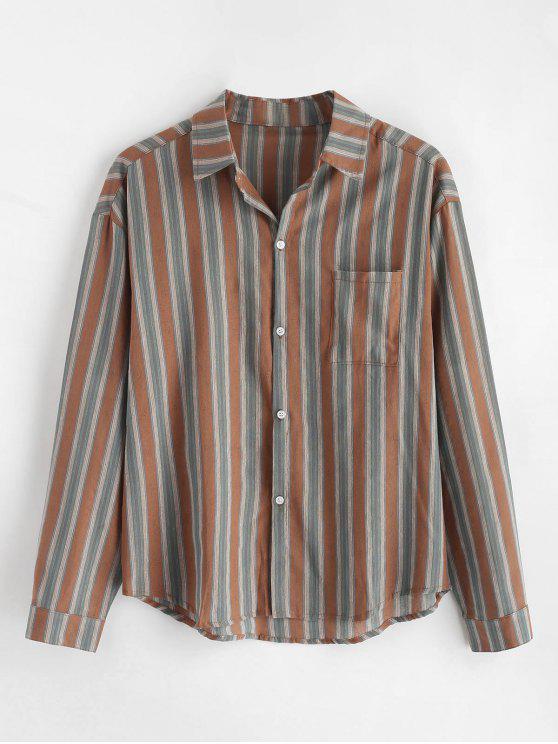 shops Chest Pocket Striped Print Shirt - COFFEE 2XL