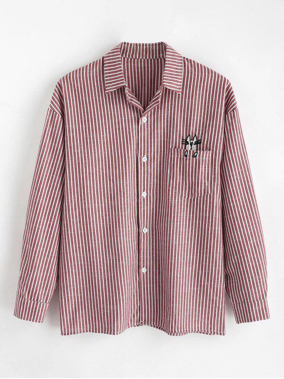 جيب مطرزة القطة مخطط القميص - نبيذ احمر XL