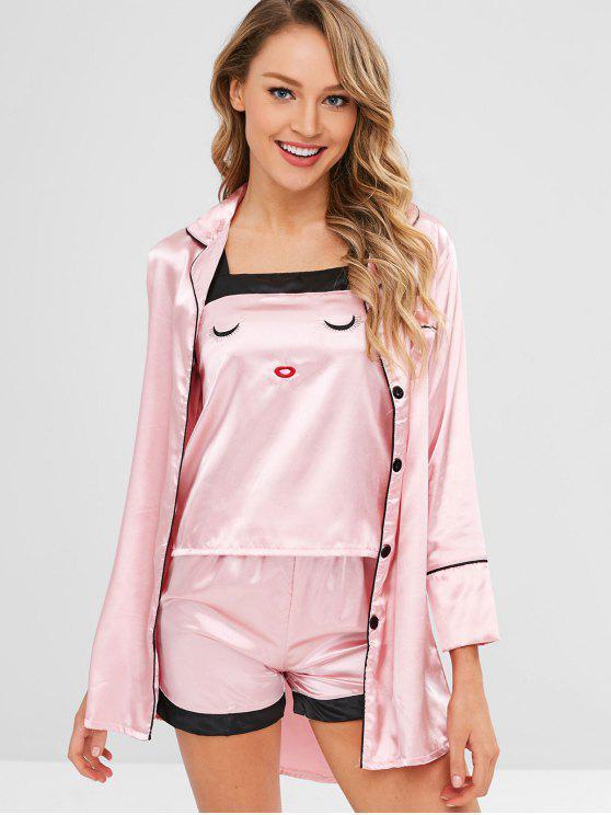 Conjunto de pijama de cetim bordado com quatro peças - Rosa XL