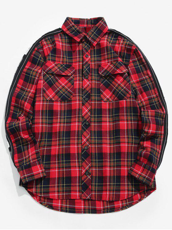 Chemise à carreaux décontractée imprimée lettre - Rouge M
