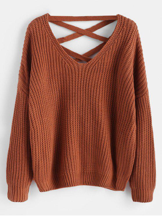 buy Lace Up Drop Shoulder Chunky Sweater - LIGHT BROWN ONE SIZE