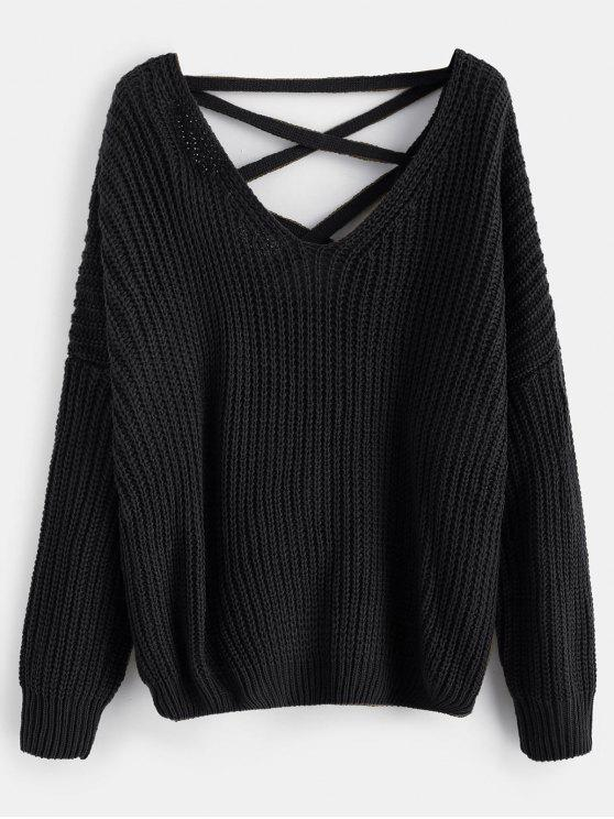 85cab7c757798 46% OFF  2019 Lace Up Drop Shoulder Chunky Sweater In BLACK