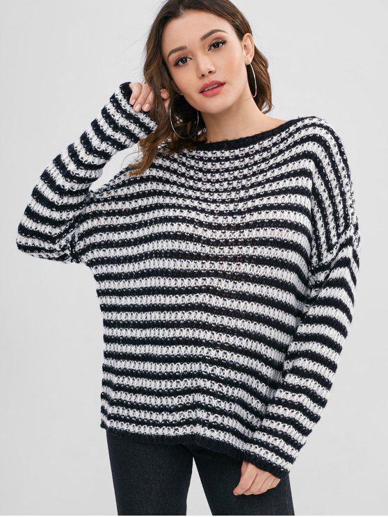 buy Pullover Loose Knit Stripes Sweater - BLACK ONE SIZE