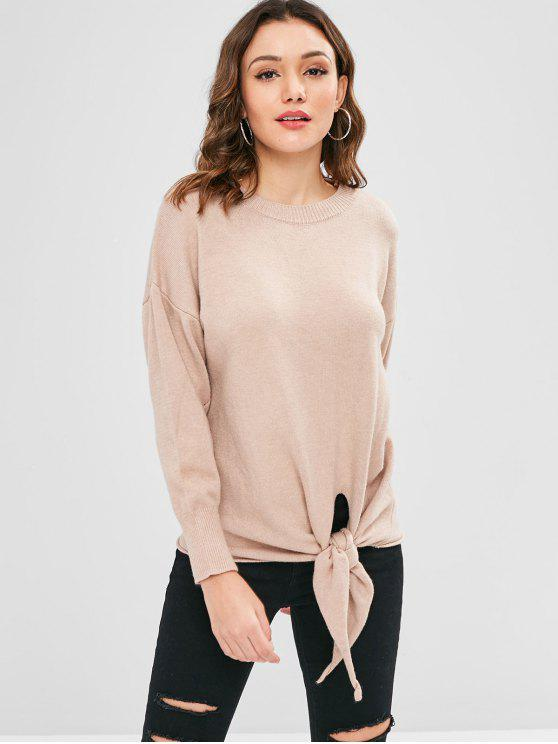 online Front Knot Tunic Loose Sweater - APRICOT ONE SIZE