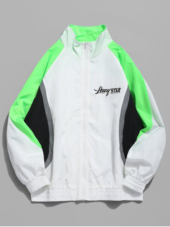 hot Color Block Letter Casual Jacket - WHITE M