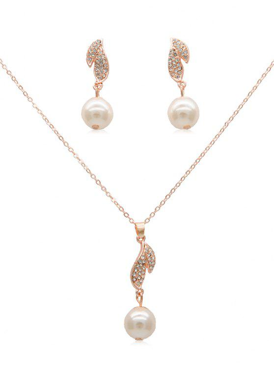 best Rhinestone Artificial Pearl Earrings Pendant Necklace - ROSE GOLD