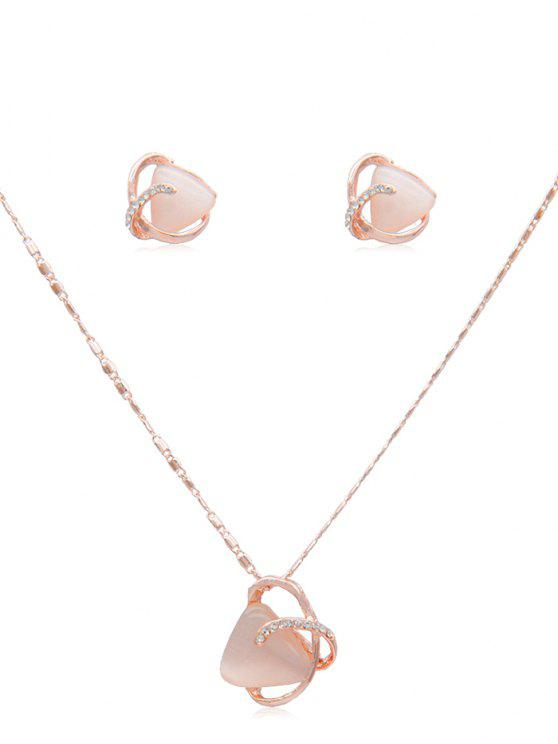 latest Rhinestone Geometric Artificial Gem Necklace Earrings - ROSE GOLD