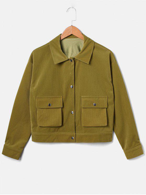 best ZAFUL Boxy Corduroy Pocket Jacket - OAK BROWN M