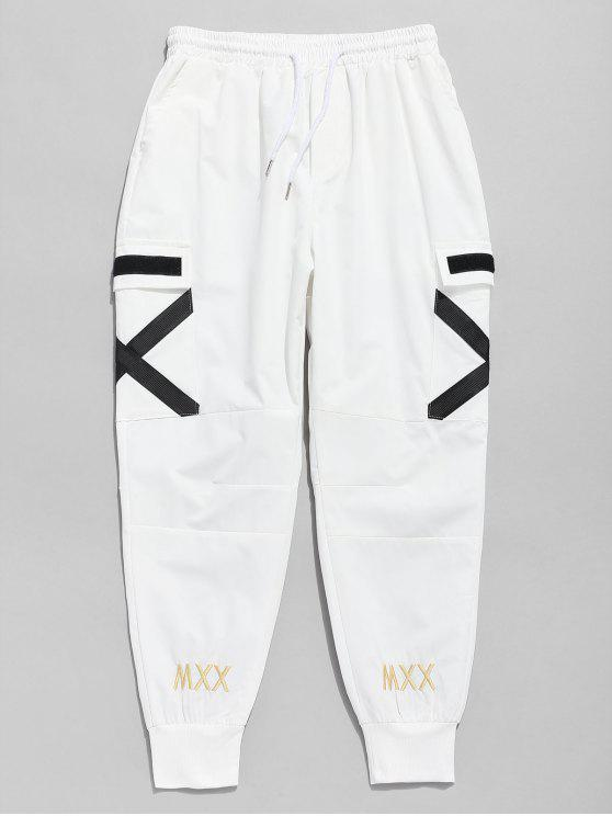 fashion Cross Stripe Pocket Jogger Pants - WHITE M