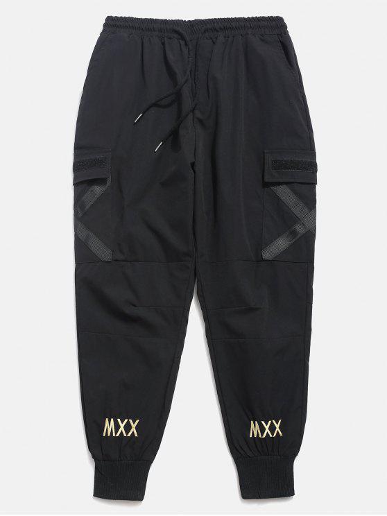 Pantalon Cargo de Jogging Rayé Croisé avec Poches - Noir XL