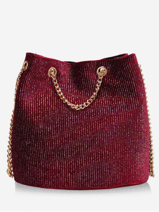 Bolso bandolera con cadena de purpurina - Rojo